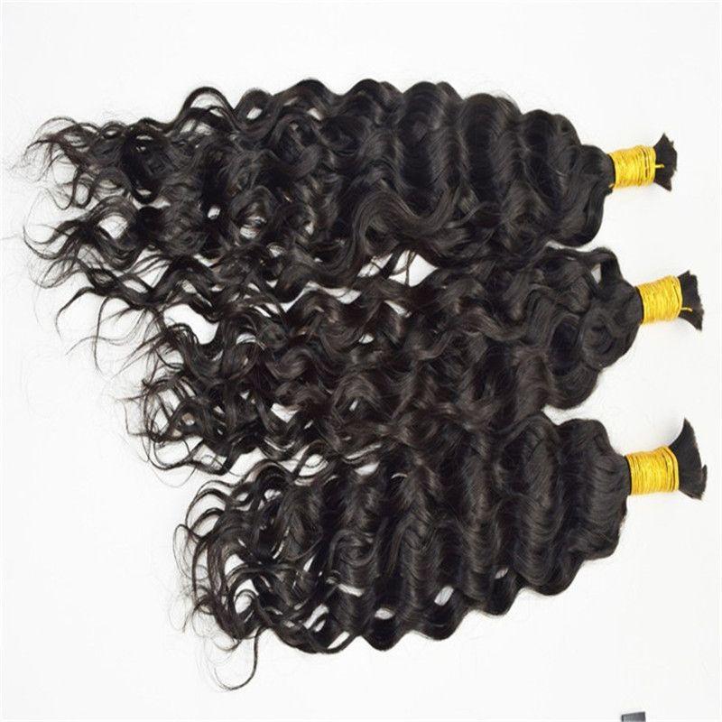 En Kaliteli Brezilyalı Saç Doğal Dalga İnsan Saç Toplu Örgü 3 ADET 100 G / PC Saç Toplu Örgüyor
