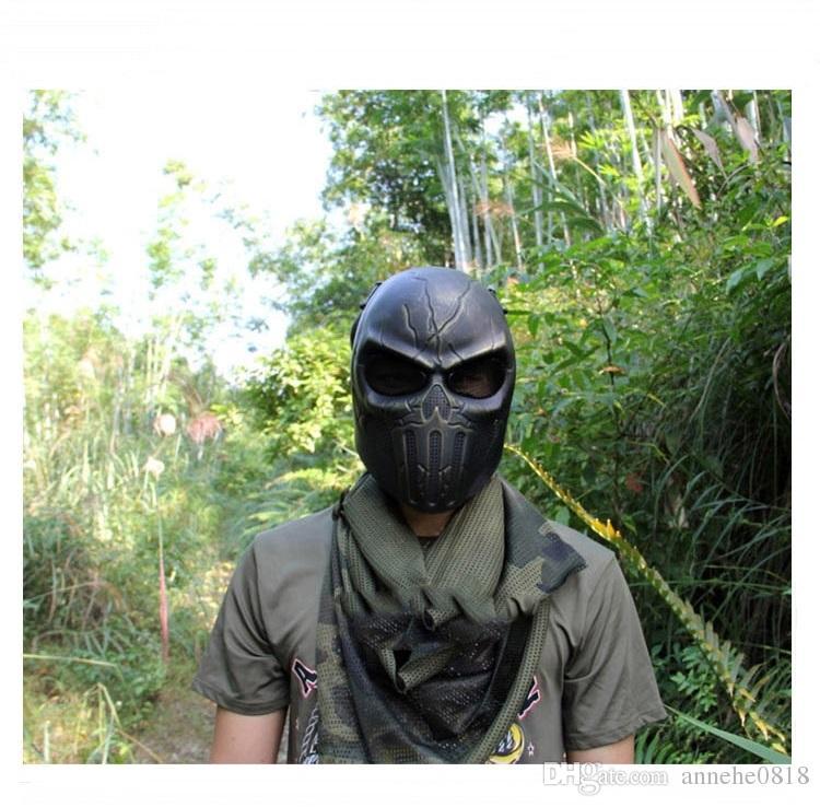 Tactical Airsoft Sports Paintball Wargame Máscara Com Proteção Da Orelha Chastener Esqueleto de Segurança de Aço de Prata Wargame Exército Campo Jogo Halloween