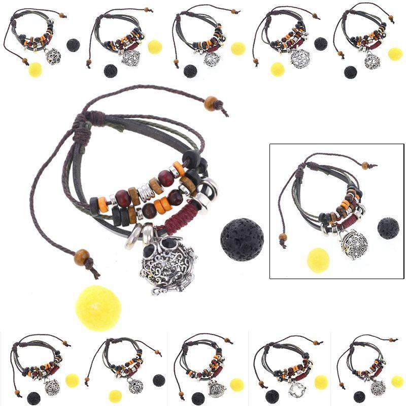 Bracciale in vera pelle multistrato bracciale diffusore di oli essenziali Bracciale in pietra lavica nera Bracciali donne Gioielli moda