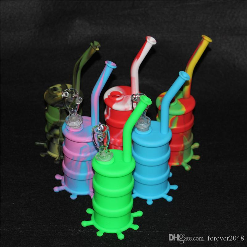 Portable Hookah Silicone Barrel Rigs for Smoking Dry Herb Unbreakable Water Percolator Bong Smoking Oil Concentrate Pipe