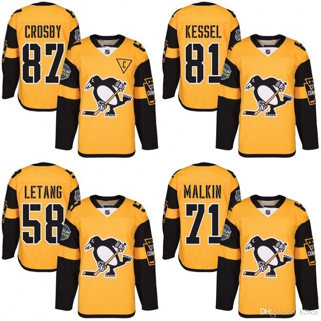 detailed look 4edf4 0d2ba MEN Youth Pittsburgh Penguins 87 Sidney Crosby 71 Evgeni Malkin 81 Phil  Kessel 58 Kris Letang Gold hockey Jersey
