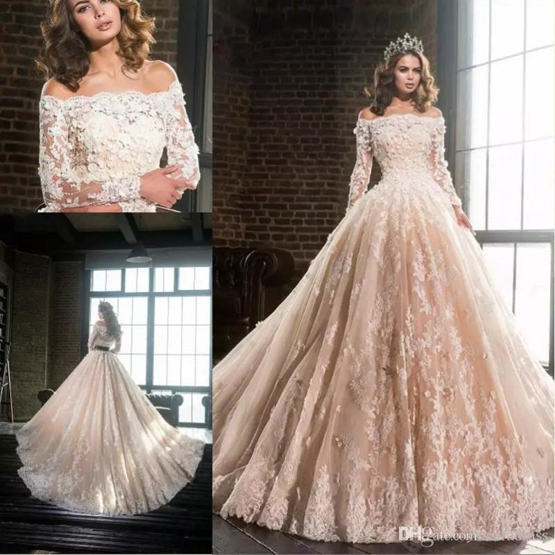 Discount 2017 new elegant blush wedding dresses off shoulders sheer discount 2017 new elegant blush wedding dresses off shoulders sheer long sleeves lace wedding gowns 3d floral appliques beaded a line bridal gowns custom junglespirit Image collections