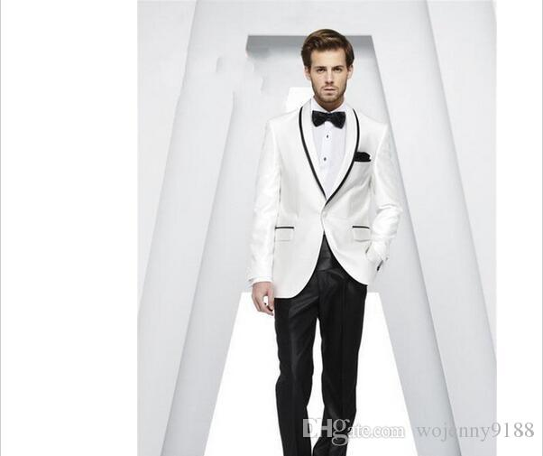 Custom Made Shawl Collar White Men Suits Best Men Wedding Suits Groom Tuxedos Casual Dinner Prom Dress Jacket+Pants+Ti.