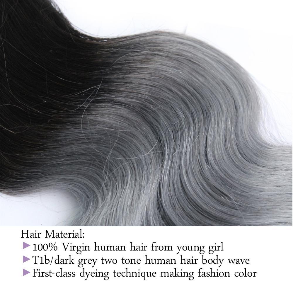 300g Ombre Two Tone Capelli Bundles T 1B Grigio di buona qualità dei capelli colorati brasiliana di estensione brasiliana cambogiano peruviano indiano Body Wave