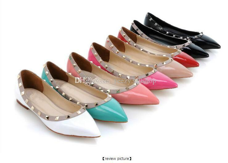 d06027837fd8c 2017 Top Quality Lady Luxury Designer Flat Genuine Leather Brands Stud Flat  Womens Shoes With Rivets Ladies Wedding Shoes Tennis Shoes Ladies Shoes  From ...