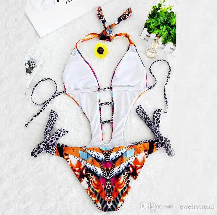 2017 Европа мода жаркое лето женская сексуальная цельный купальник Леопард купальники Холтер спинки купальник Леди бикини купальник