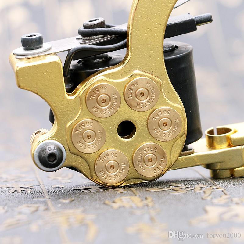 Wholesale- New Design Tattoo Machine 10 Wrap Coils Tattoo Gun Golden Bullet Design for Shader TM2380