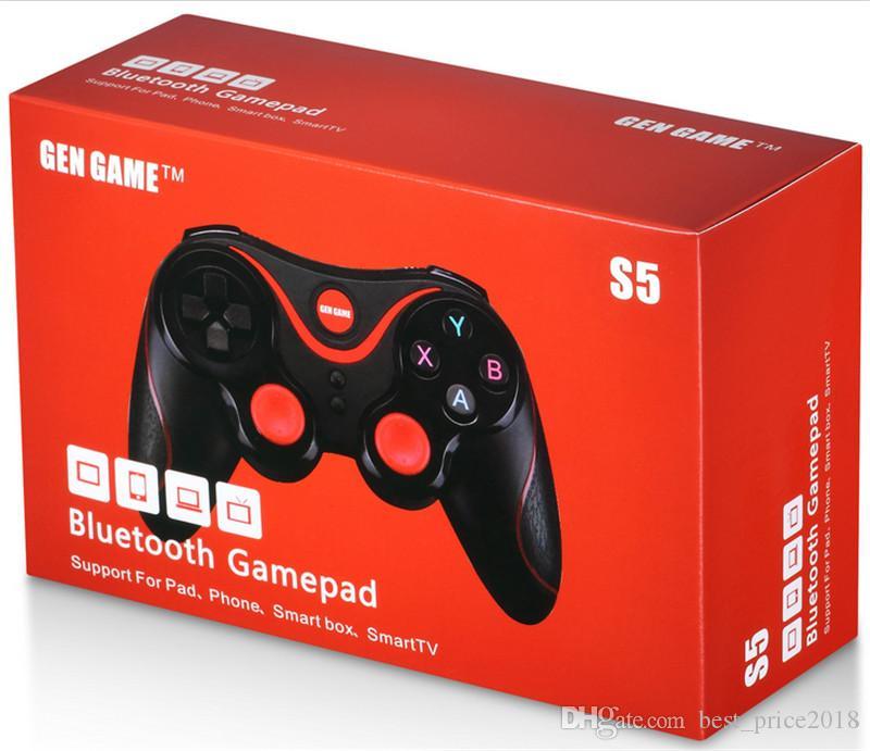 Neue Ankunfts-Gen Spiel S5 drahtlose Bluetooth Gamepad Joystick für Android IOS Smartphone Tablet PC Remote-Halter-Controller mit mit Paket