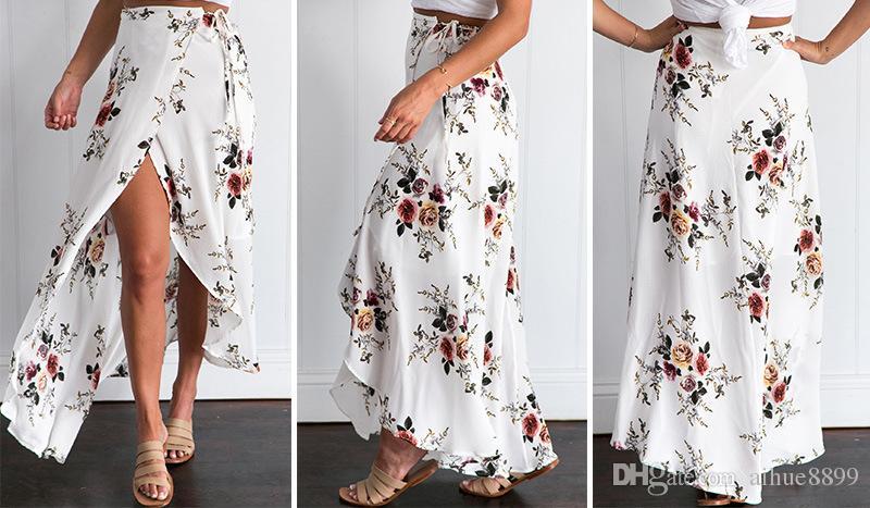 Èlegant Fancy imprimé fleurs Jupe longue Femmes Mode Plume de paon taille élastique ultra-longue Big Bottom pleine jupe en mousseline