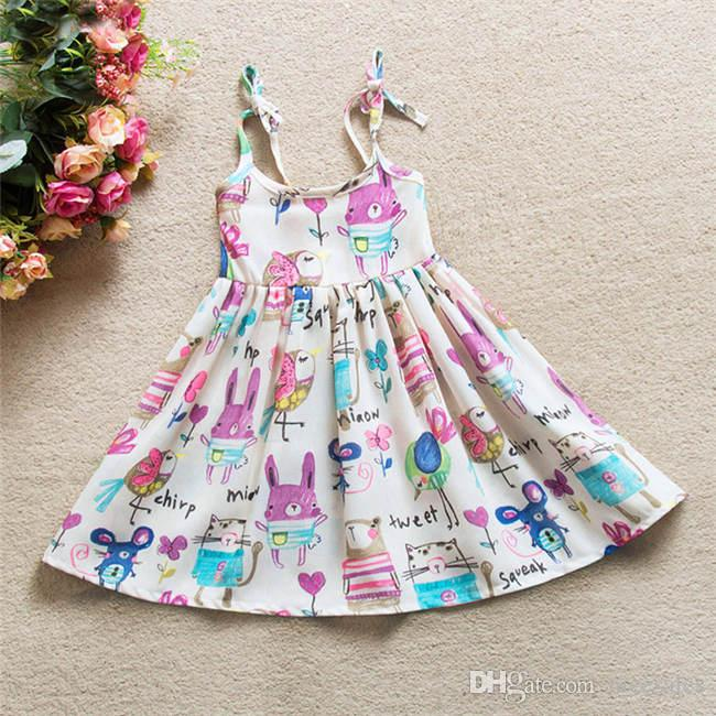 Hot Sales Girls Summer Chiffon Suspender Dress Animal Cartoon Printing Baby Girl's Dress Girls Clothes Costume for Kids NS004