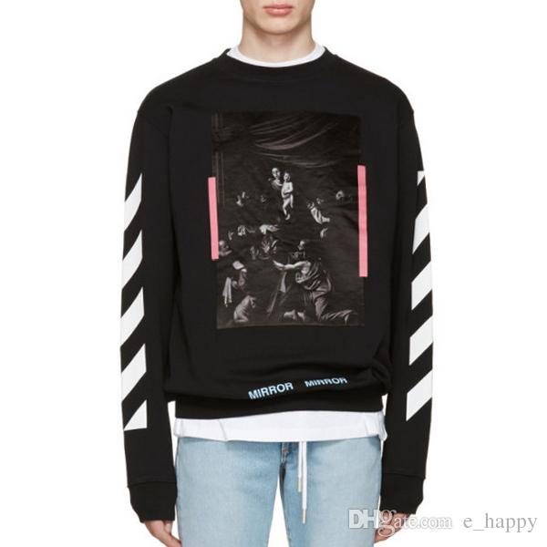 2018 Off White Caravaggio Sweatshirt White Black Diag Arrows ...