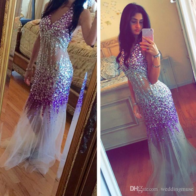 Colourful Heavy Crystal Rhinestone Mermaid Evening Dress Sexy See Through 2019 Floor-Length Sexy V Neck Sleeveless glamorous Prom Dress