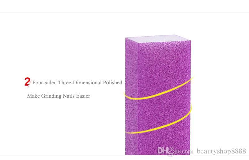 V1 D084 Vente Chaude En Gros Nail Art Fluorescent Lime À Ongles Tampon Rectangle Blanc Coeur Ponçage Bloc Tampon Nail Art Éponge Fichier