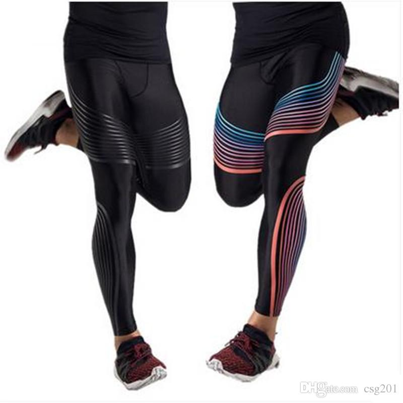 c3a945eb63 2019 Compression Pants Quick Dry Fitness Leggings Fo Men Exercise Tights  Colourful Line Striped Trousers Male Crossfit Sports Clothing From Csg201,  ...