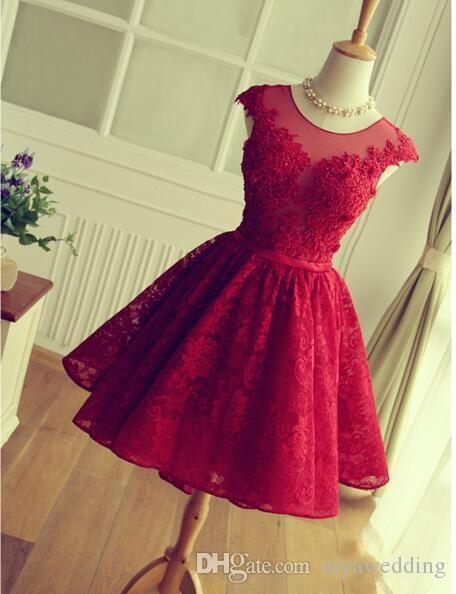 2019 Pizzo Rosso Abiti Homecoming Breve Mini Gonna Sheer Neck Tulle Appliques Laurea Prom Party Abiti Vestidos De Fiesta Cortos