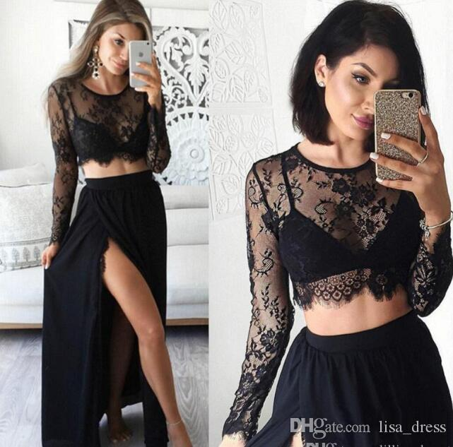 a97238b4779 Two Pieces Long Sleeve Lace Prom Dress Party Gowns Side Split Maxi Dress  Black Lace Chiffon Evening Dresses Crop Top Formal Exotic Prom Dresses  Flirt Prom ...