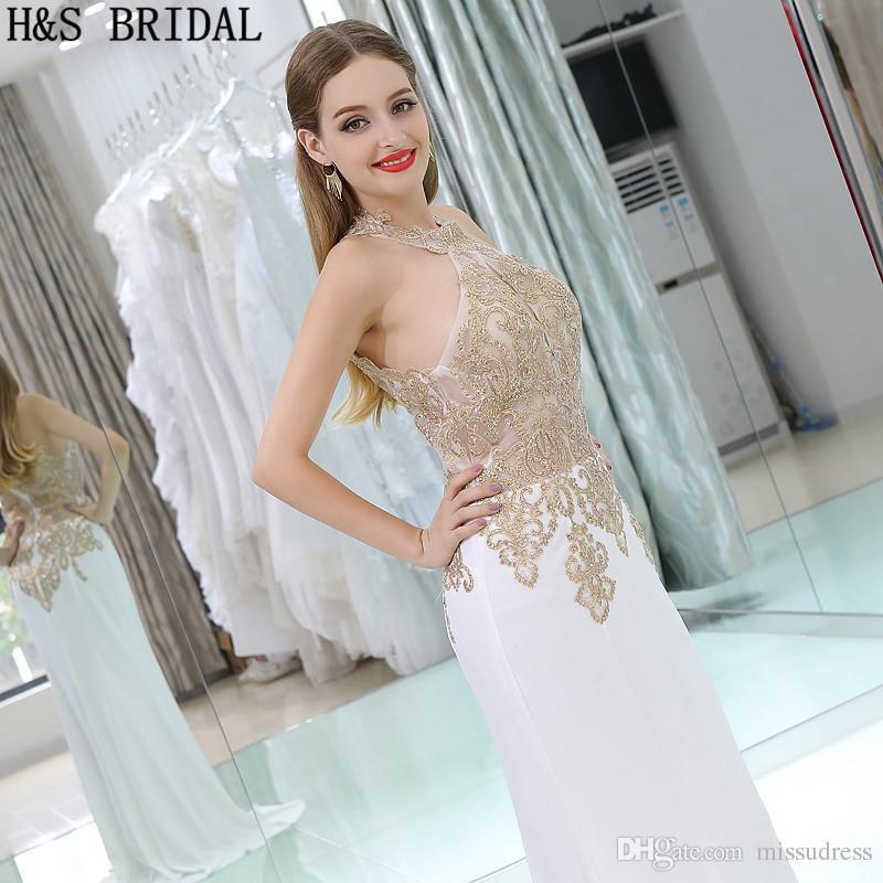 Foto reali 2017 Abiti da sera economici Lunghi in chiffon Appliques Halter Illusion Evening Party Prom Gown B001