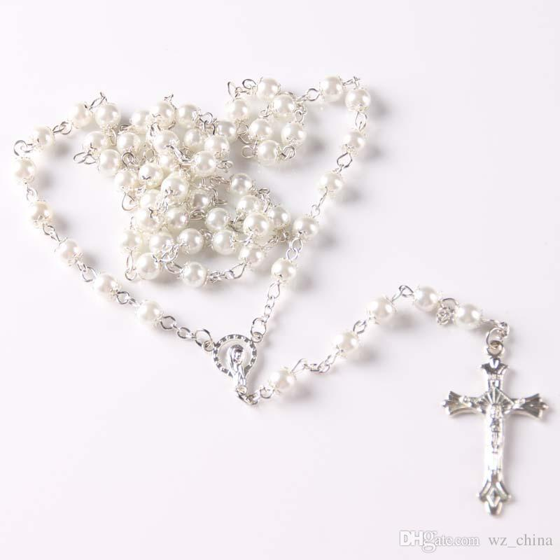 Herren Silber Rosenkranz Halskette Frauen Perle Perlen Weiß / Schwarz Kristall Kreuz Perlen Anhänger Halsketten 6mm / Modeschmuck