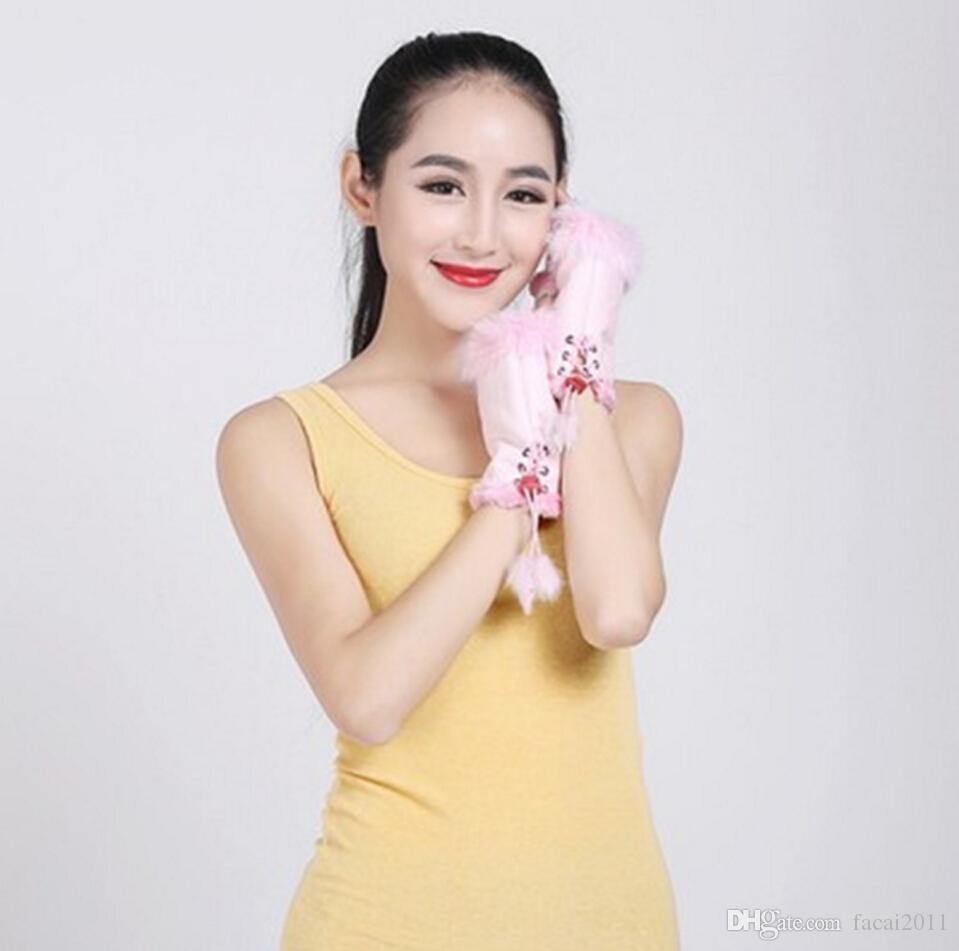 Manufacturers selling half finger gloves and Lady rabbit warm winter fashion indoor mitts computer typing