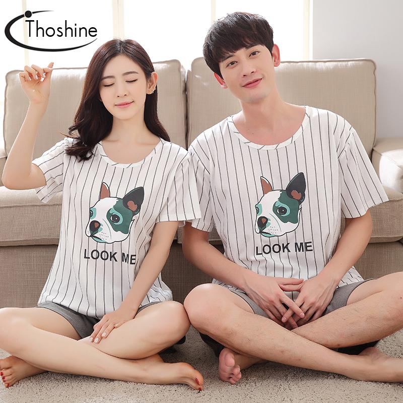 d435b9644441e Wholesale- Thoshine 2017 Summer 100% Cotton Couple Pajamas Sets of T-shirts  & Shorts Family Nightwear Women & Men Casual Outwear Plus Size