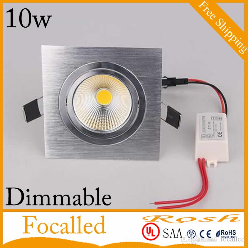 High Quality COB Dimmable Led down lights Square led recessed ceiling light 10w 850lm AC110-240v Nature White 4000K +Drivers CE UL SAA