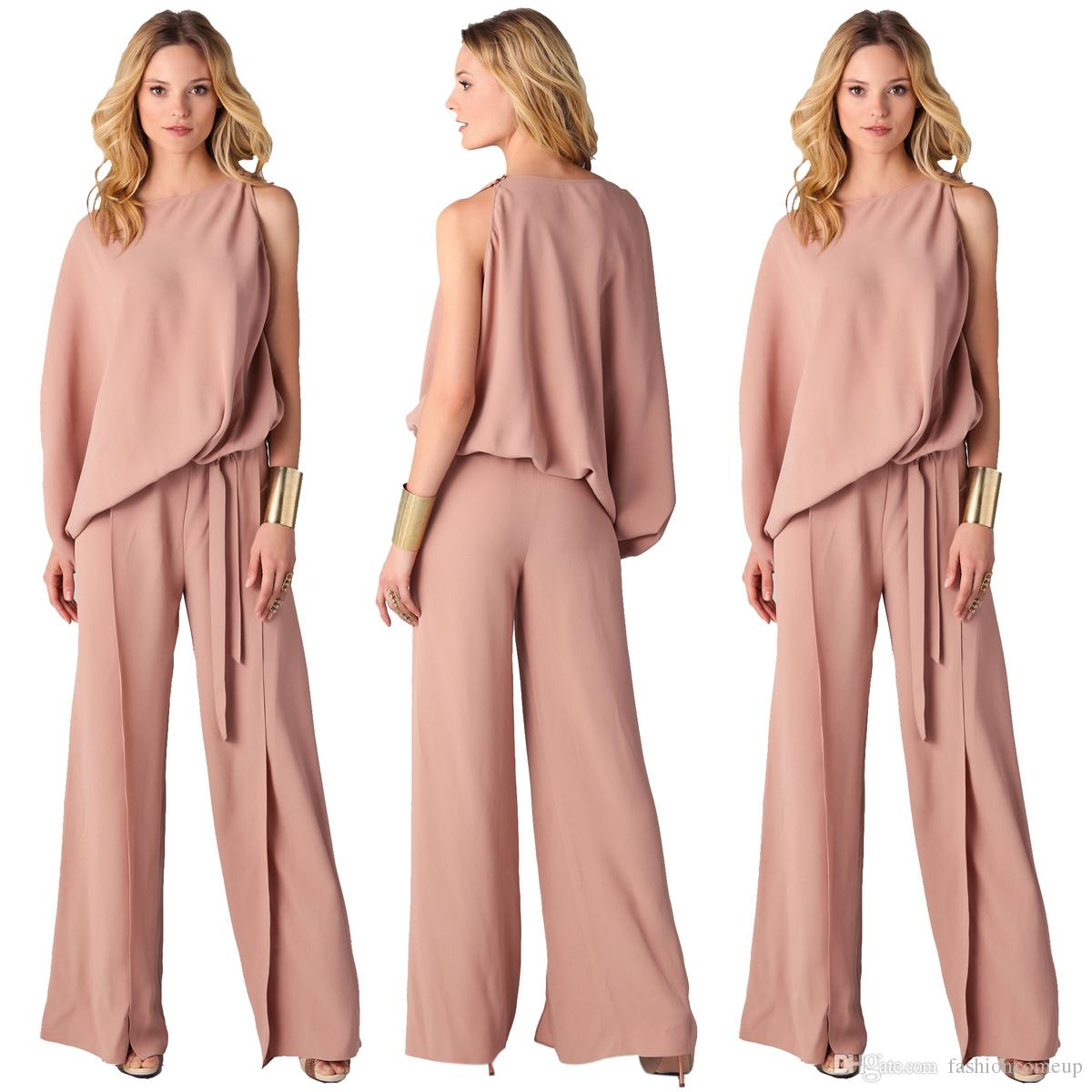 0e1603209626 2018 Women Jumpsuits One-Shoulder Rompers Plus Size Office Lady Work  Dresses Fashion Sexy Pink S-3XL SF06-7 Women Jumpsuits One-Shoulder Rompers  Office Lady ...
