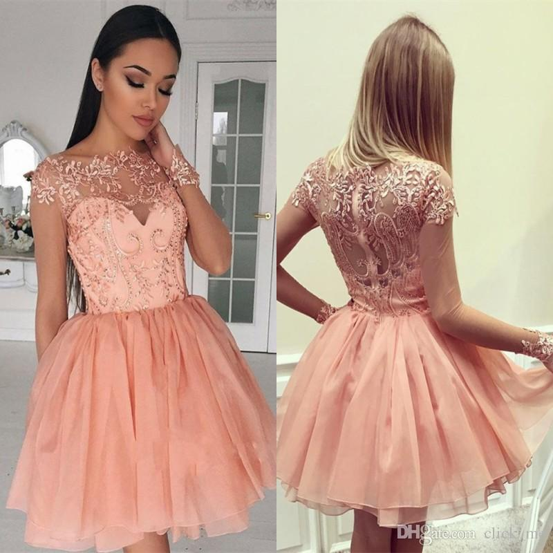 Blush Pink Sexy Sheer Neck Short Party Dresses With Lace Appliques