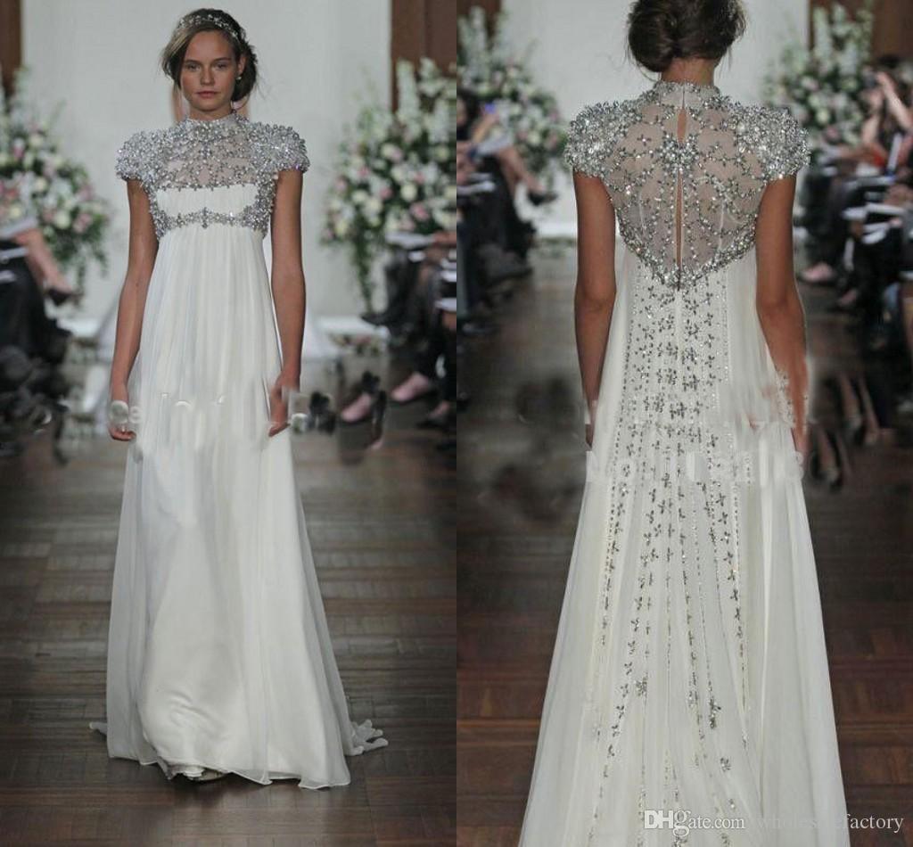 2017 Sparkly Ivory Chiffon Evening Dresses High Neck Short Sleeves ...