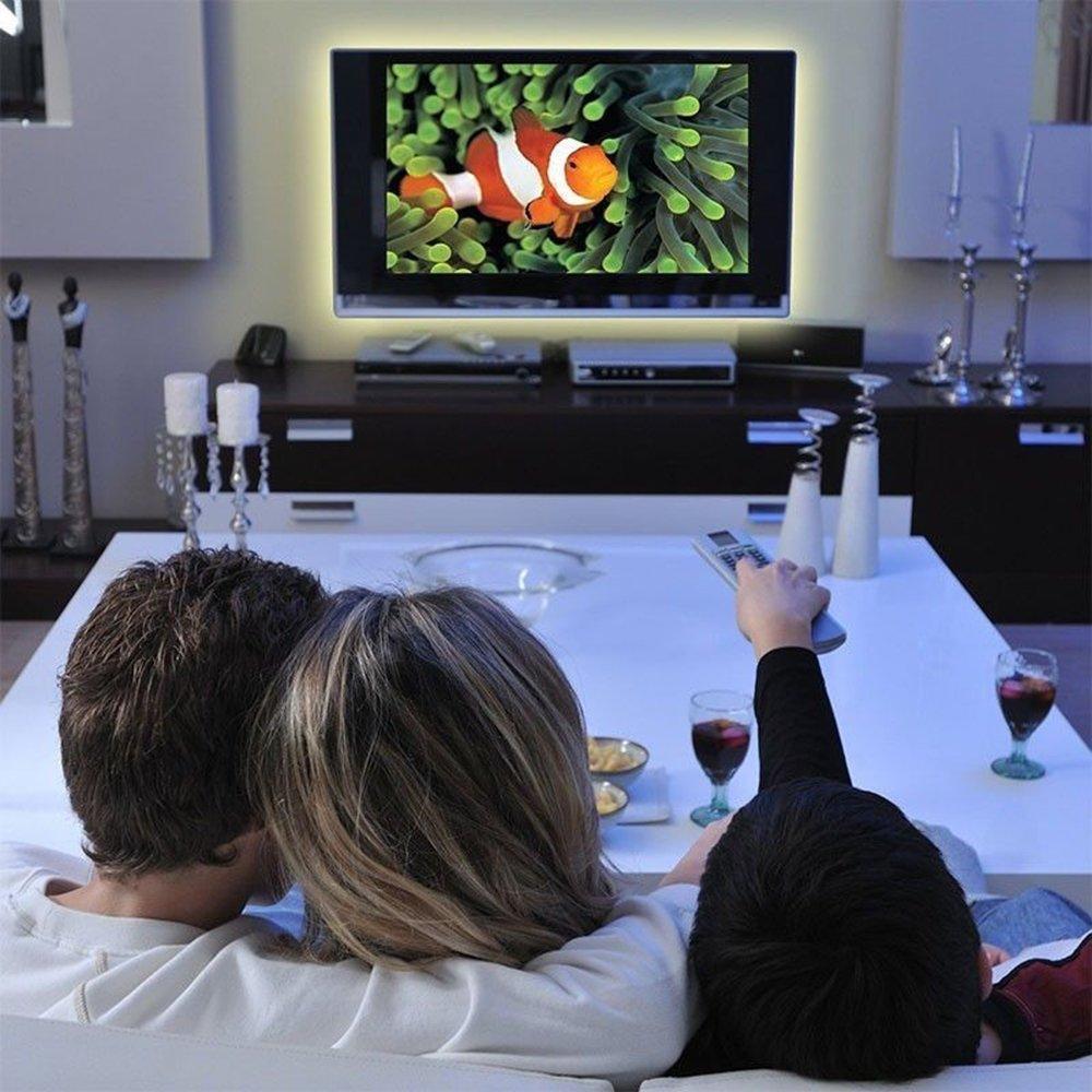 Tira de LED RGB 5050 30LED M DC 5V Tiras de luz LED USB Cinta de neón flexible impermeable 1M-5M agregar control remoto para fondo de TV