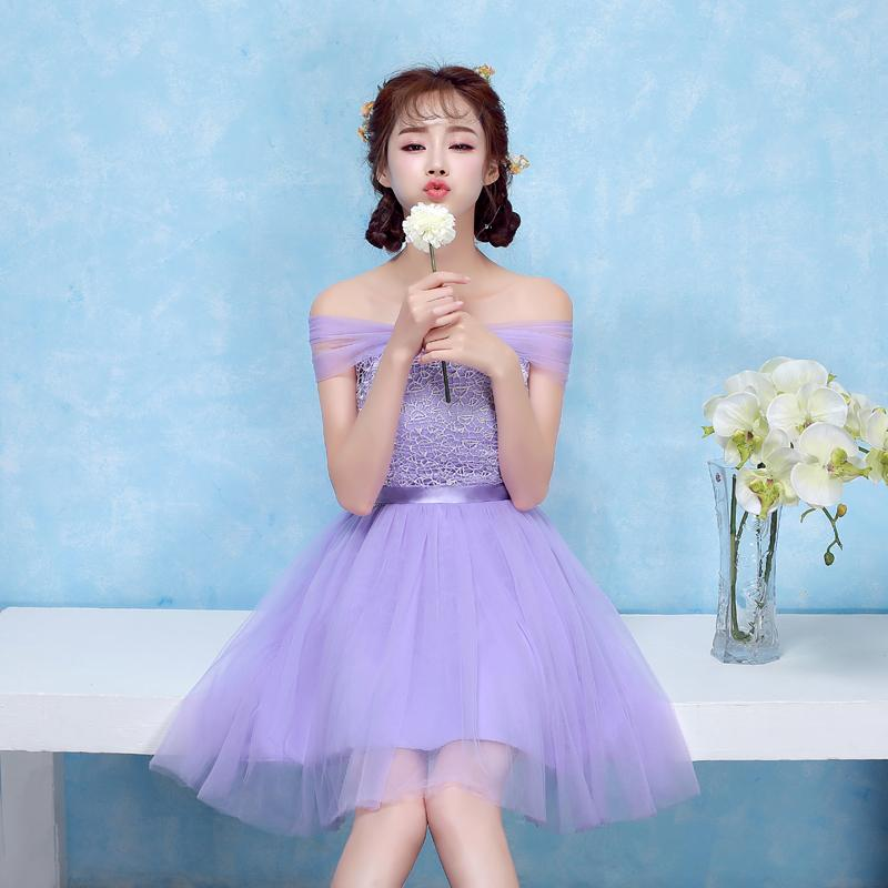 Women S A Line Short Mini Lace Tulle Sleeveless Off Shoulder Lavender  Bridesmaid Dresses With Lace PSQY 67 UK 2019 From Qiu3357988 d06d9bc42c06