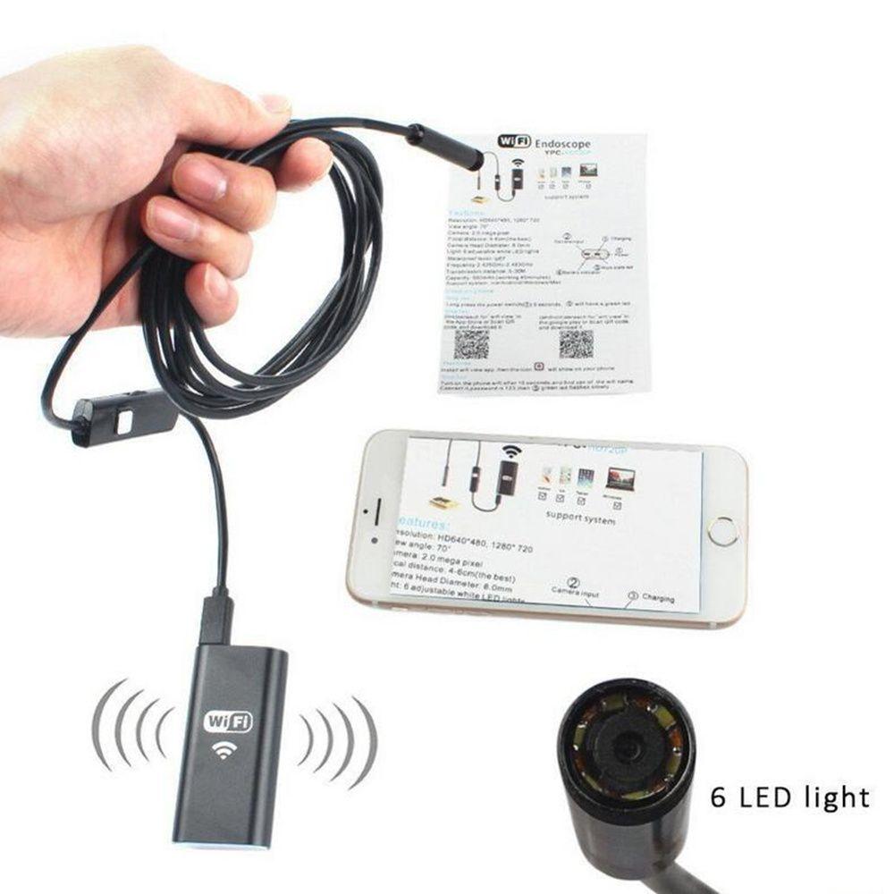 WiFi EndoscopyEletryc Wifi Endoscope 720P HD mit 8mm Objektiv 6 LED Wasserdichte Inspektionskamera Endoskop-Kamera iOS / Android-Schlange Flexibel C