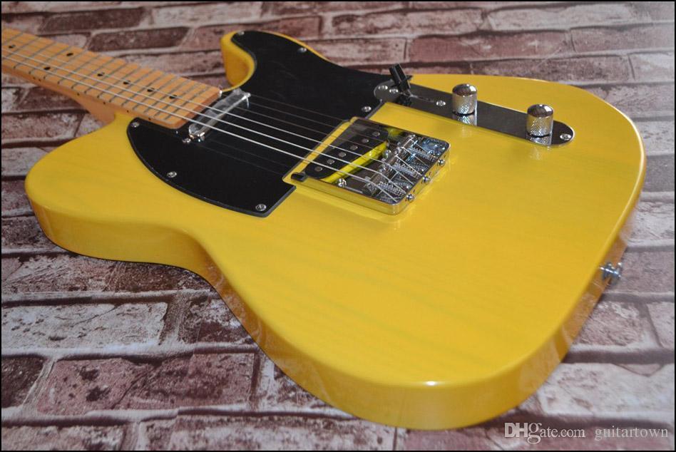 무료 배송 1 목 스카프 없음! TELE 솔리드 바디 기타 텔레 캐스터 옐로우 컬러 OEM 일렉트릭 기타 재고 있음