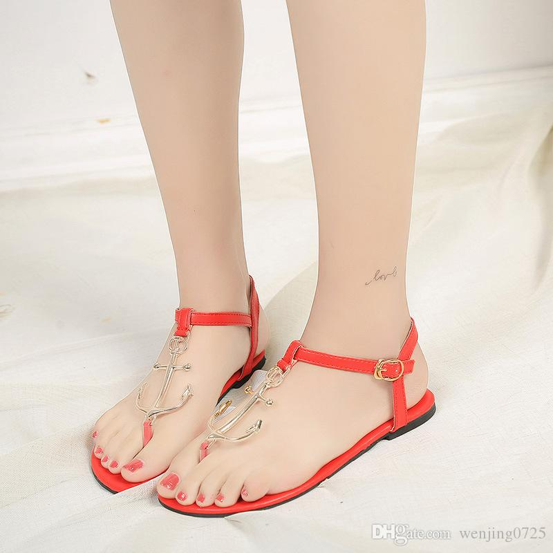 Hot selling Spring Summer newstyle Leather women sandals flat heel casual sandals outlet lowest price Gl0dcEg