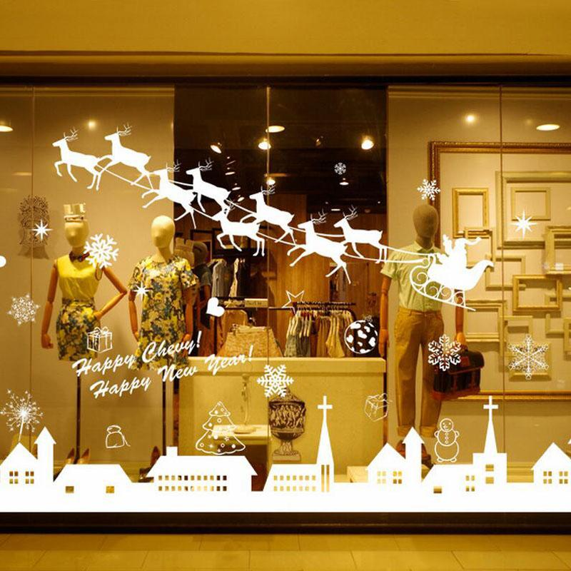 Hot DIY Christmas Snow Town Elk Snowflakes Home Bar Showcase Decor Wall Stickers Window Glass Decorative Wall Decal 2017
