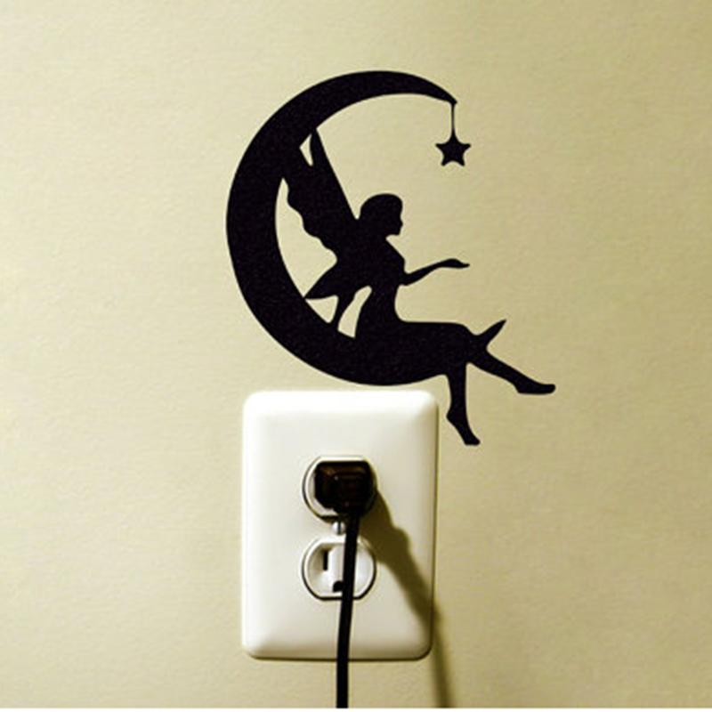Fairy Wall Art moon fairy wall decal crescent moon silhouette wall sticker star