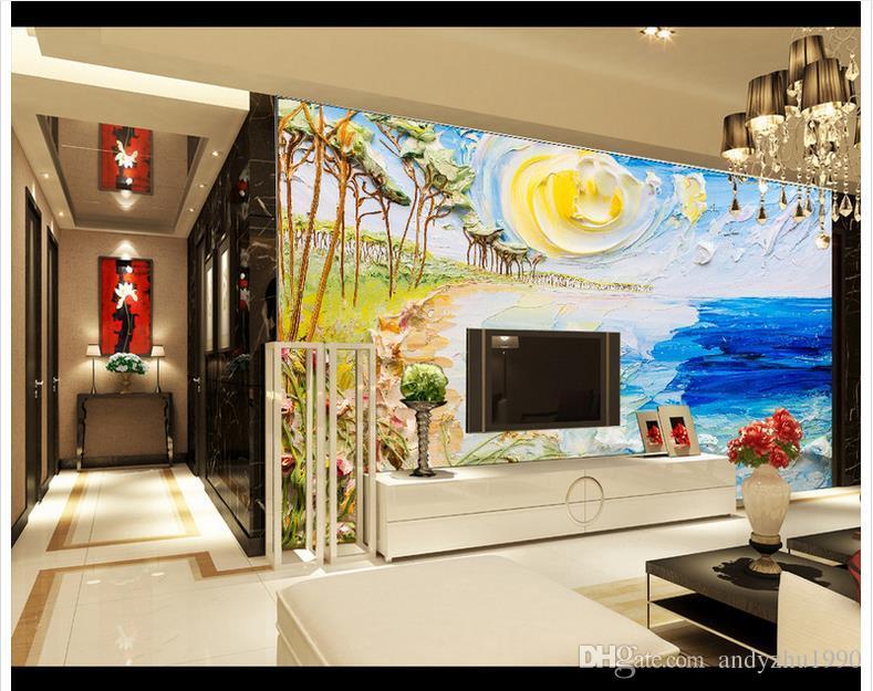3D papel de parede personalizado 3d murais papel de parede sala de estar imagem estéreo cenário de TV pintura de parede do cenário do mar parede 3d sala de estar decoração da parede