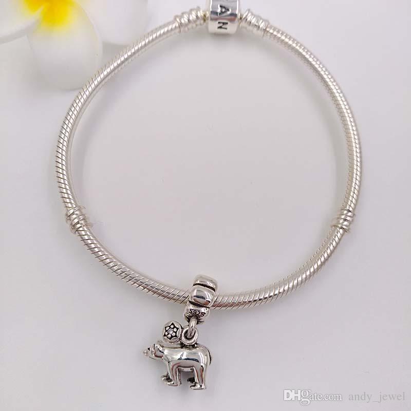 Authentische 925 Sterling Silber Perlen Eisbär baumeln Charme passt europäische Pandora Style Schmuck Armbänder Halskette