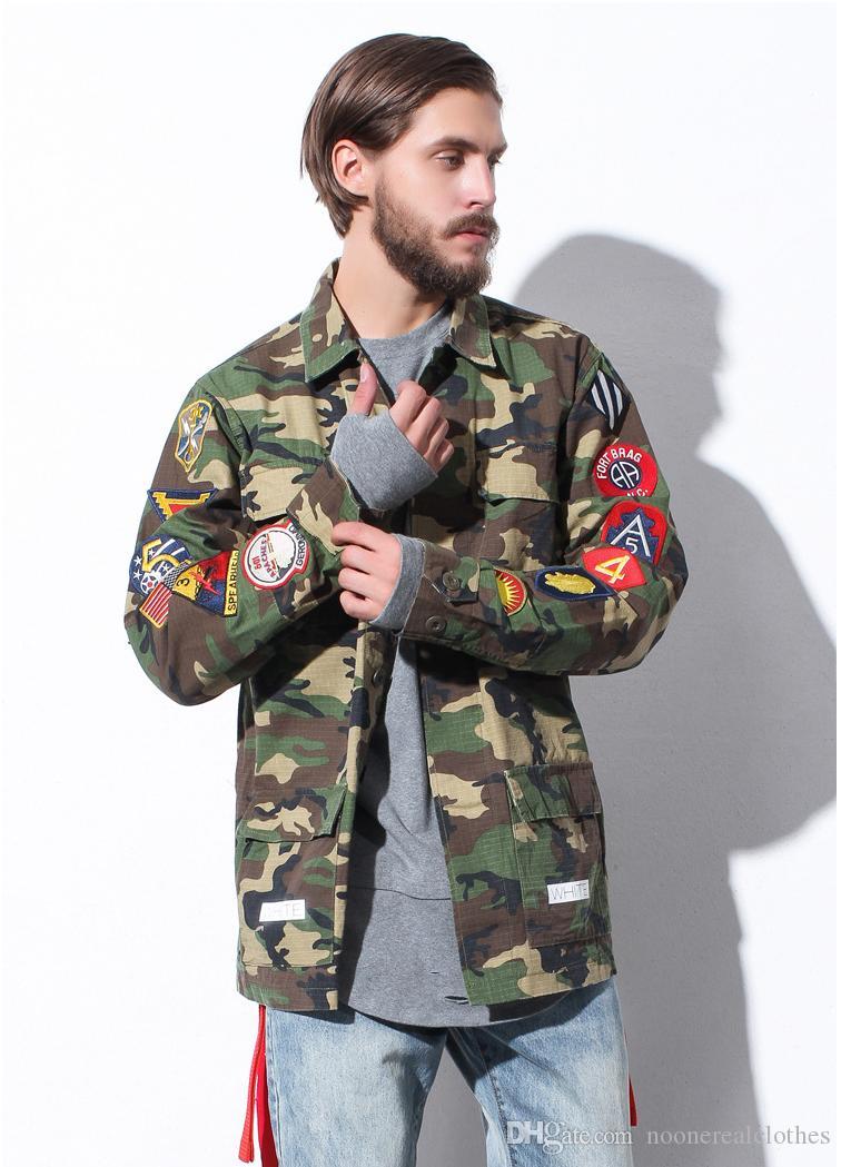 off white 424 camouflage jacket men hip hop badge flag street windbreaker military bomber coat. Black Bedroom Furniture Sets. Home Design Ideas
