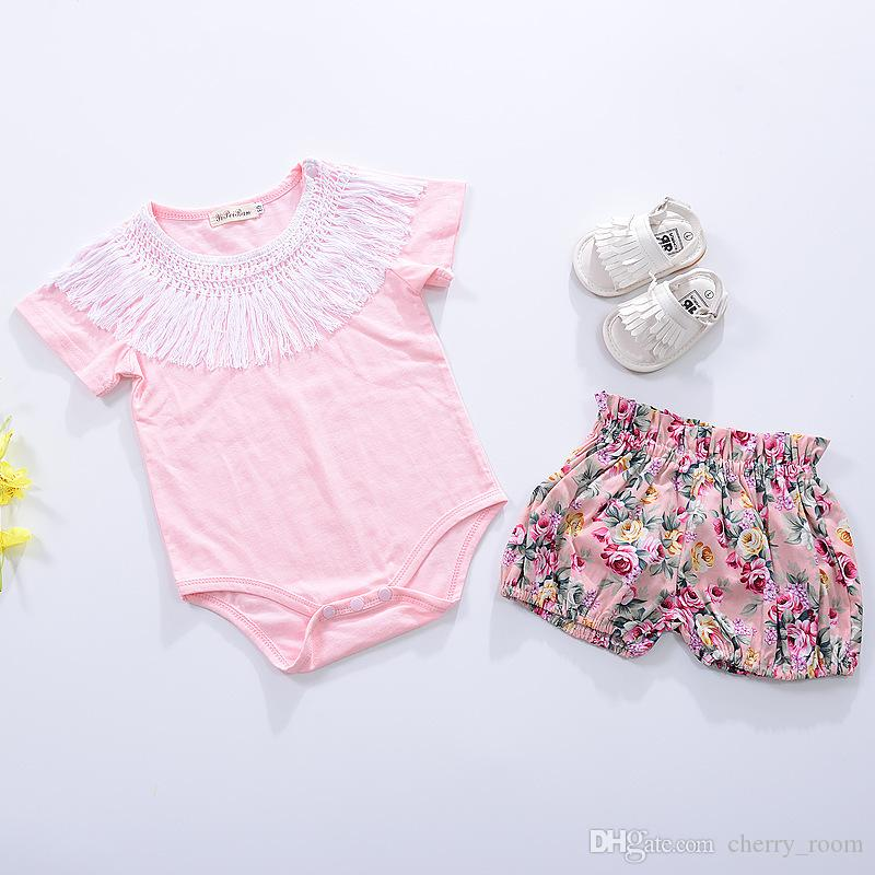 European Style Summer Baby Girls Rompers Toddler Clothing Onesie Jumpsuit Girl Tassel Collar Romper Cotton Rompers One-piece Pink A6106