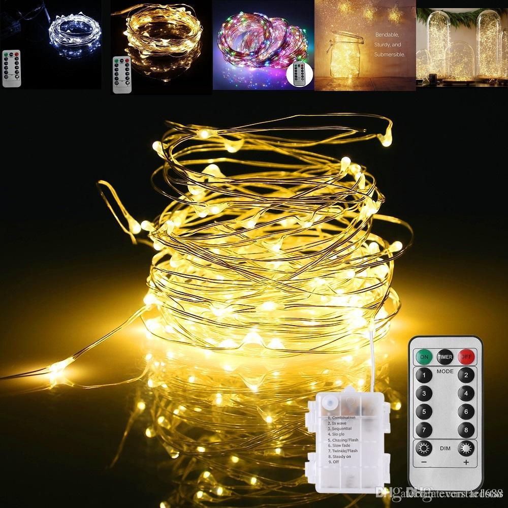 LED String Lights Battery Powered Remote Control Copper Wire ...