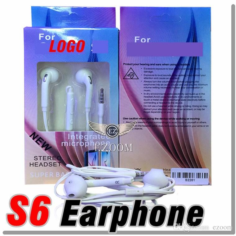 Universal For Galaxy S6 Plus Earphone In-Ear Stereo 3.5mm With Mic and Remote for Samsung Galaxy S6 S7 S7 edge With Retail Box