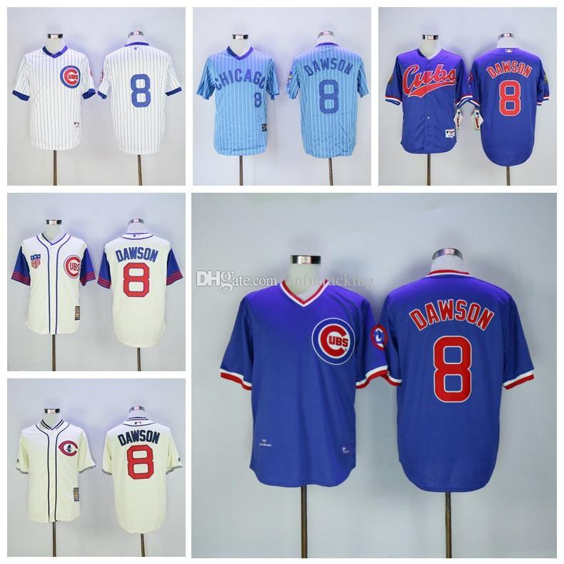 big sale 4db18 254ae mens chicago cubs 8 andre dawson blue pinstripe pullover jersey