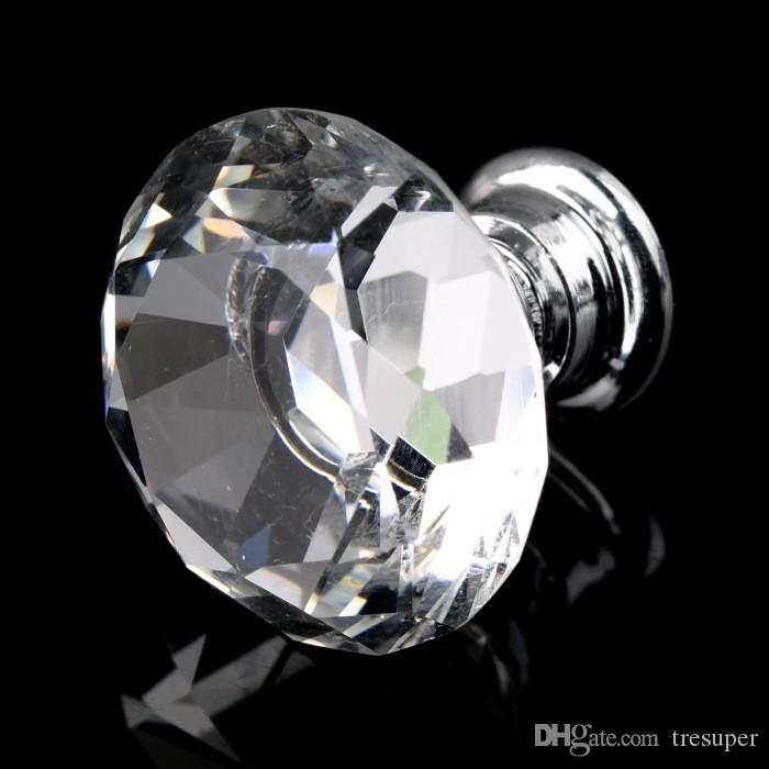 30mm Diamant Forme Cristal Bouton En Verre Placard Tiroir Tiroir Poignée Neuf
