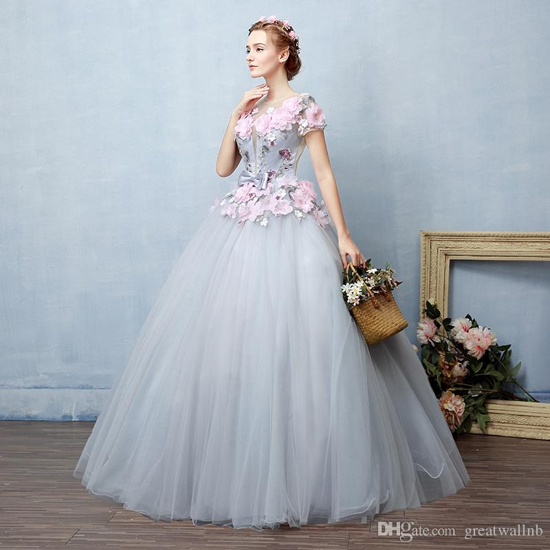 72aa619ed2a21 100%real fairy grey pink flowers fairy cosplay ball gown royal princess  Medieval Renaissance Victorian dress Belle ball