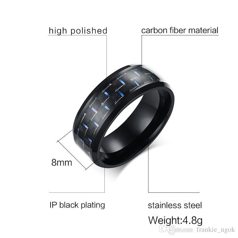 316L ювелирные изделия из нержавеющей стали мужская кольцо обручальное кольцо с синий красный желтый очарование участия углеродного волокна инкрустация, комфорт Fit 8 мм