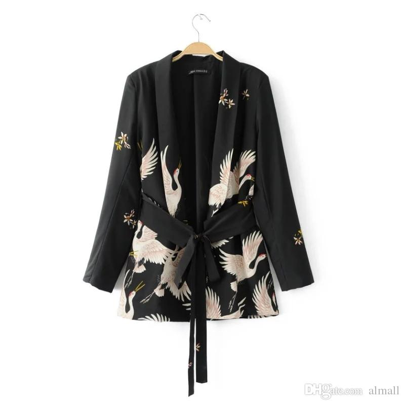 a9e0ee7b07d Fashion Women Red Crowned Crane Printing Kimono Style Jacket Casual Long  Sleeve Coat Vintage Knotted Belt Loose Tops Online with  38.33 Piece on  Almall s ...