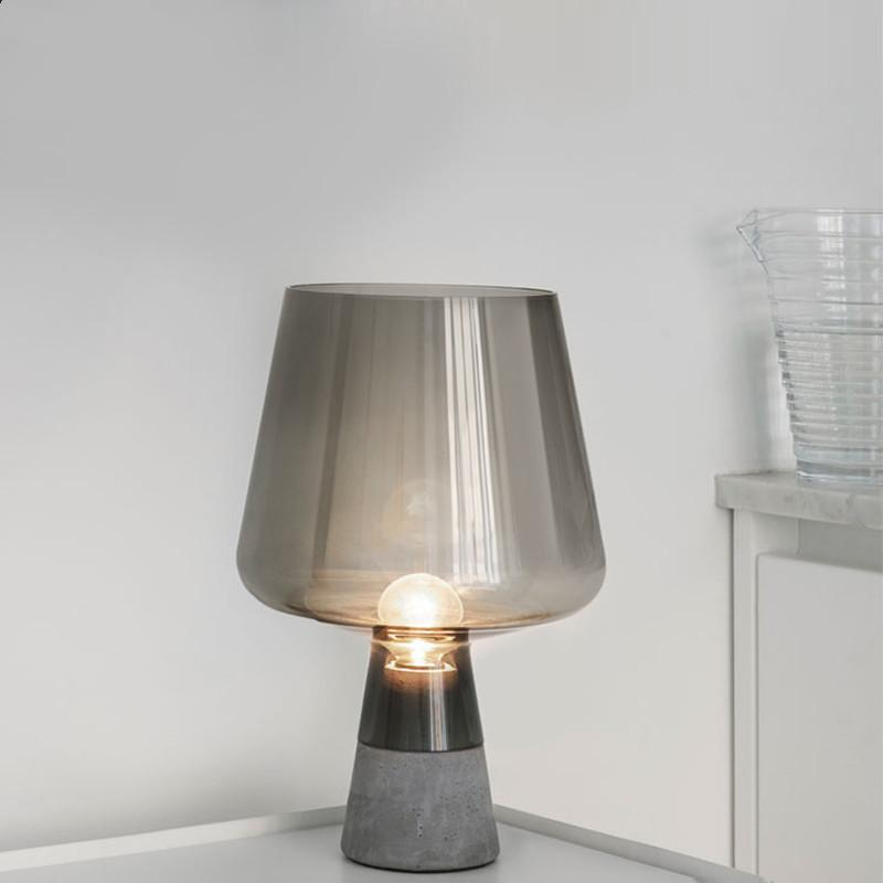 Nordic Glass Cement Bedside Table Lamp Iittala Leimu Table Light Study Room  Living Room Desk Lamp Standing Light Fixtures Table Lamp Bedside Lamp Desk  Lamp ...