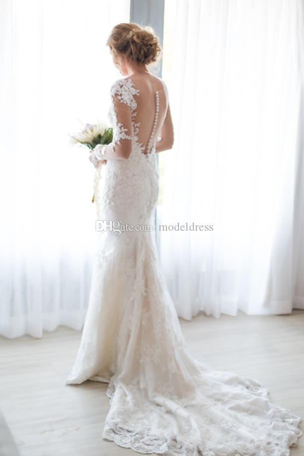 Sheer Long Sleeves Full Lace Wedding Dresses V Neck Lace Appliques Illusion Back Mermaid Court Train Elegant Garden Bridal Gown Cheap Custom
