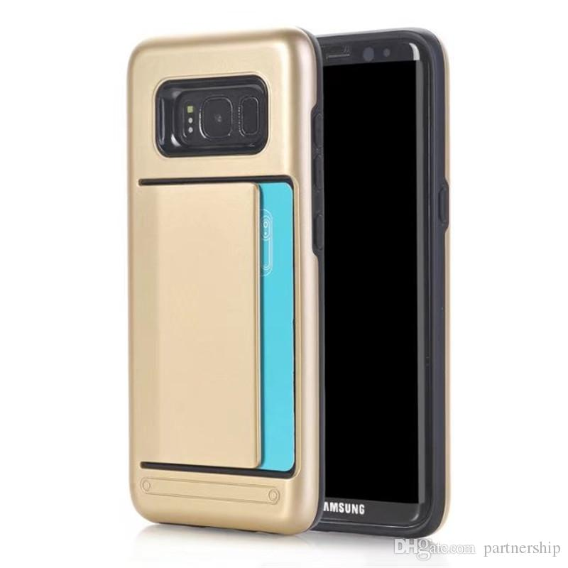 Hybrid Hard Armor Credit Card Slot Back Cover Case For Samsung Galaxy S3 S4 S5 S6 S7 edge / S8 Plus Silicone+PC Protective Shell