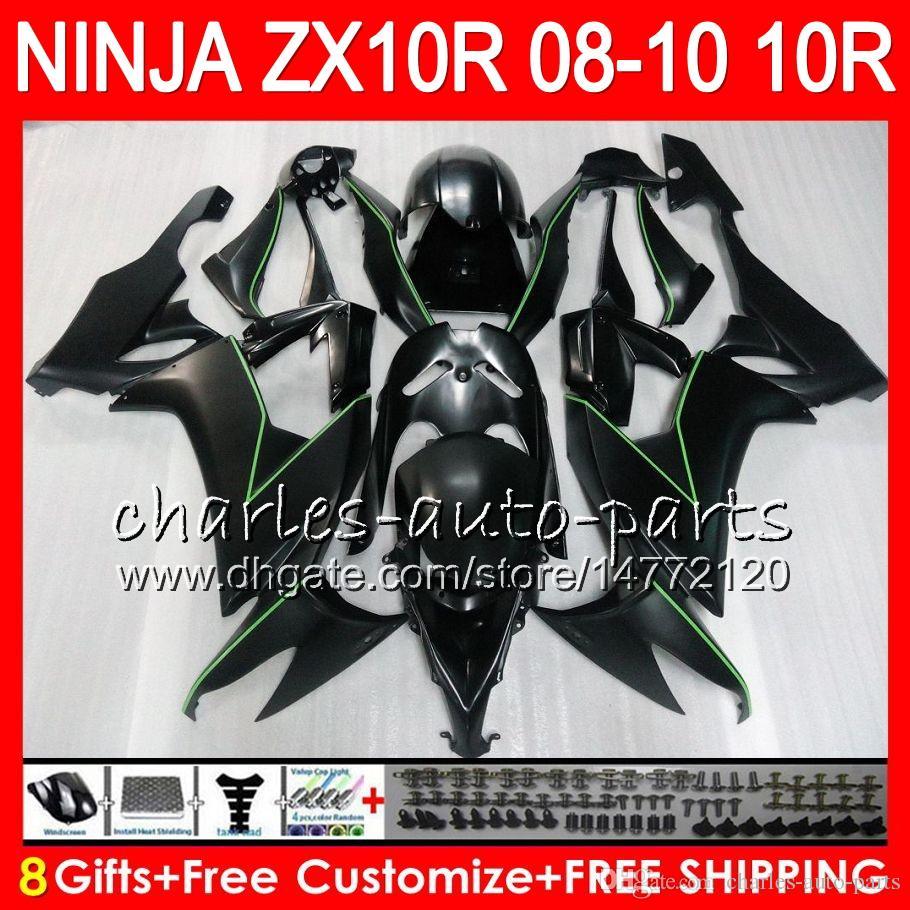 8Presentes 23Cores Corpo Para KAWASAKI NINJA ZX1000C ZX10R 08 09 10 Preto Liso 47HM19 ZX1000 ZX ZX10R R ZX-10R ZX 10R 2008 2009 2010 Kit de Carenagem